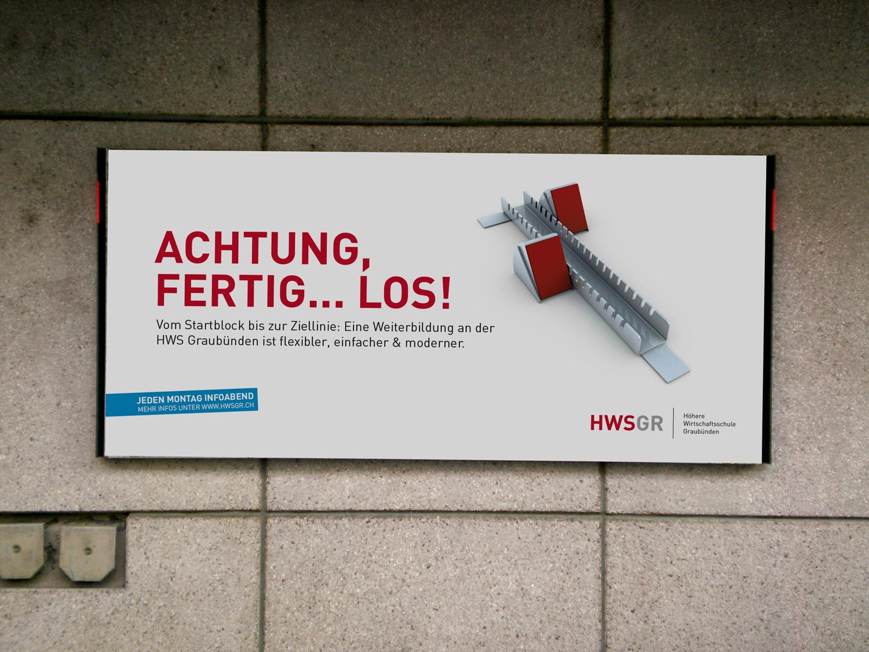 YES! creative digital marketing client hwsgr höhere wirtschaftsschule graubünden branding corporate identity corporate design branding plakatkampagne plakat apg