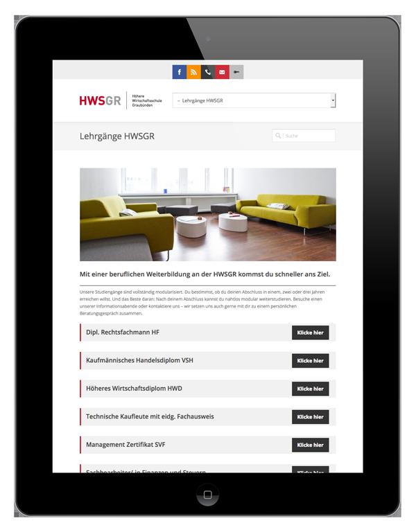 HWSGR Web Tablet Ansicht