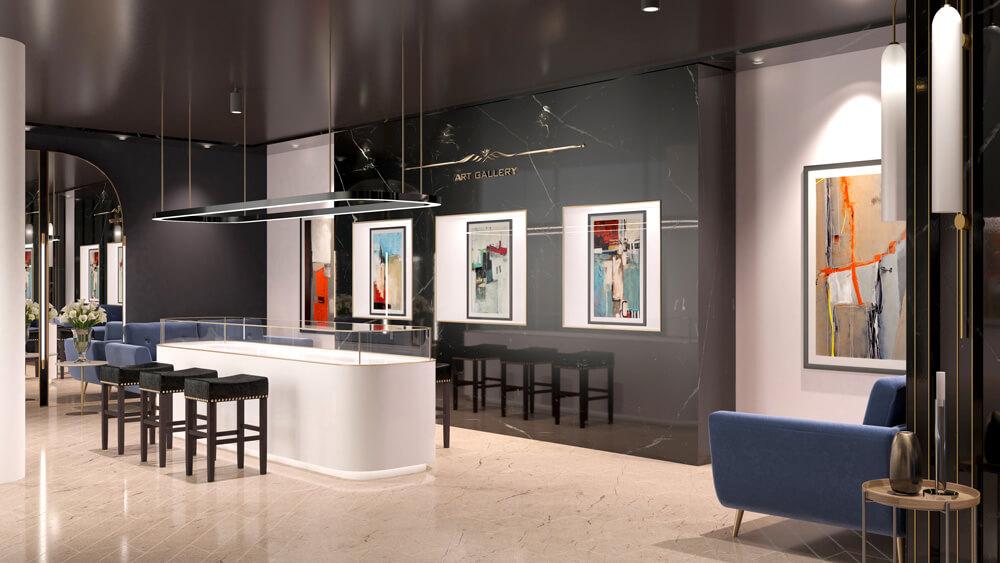 3D Rendering einer Kunstgalerie von Wincasa