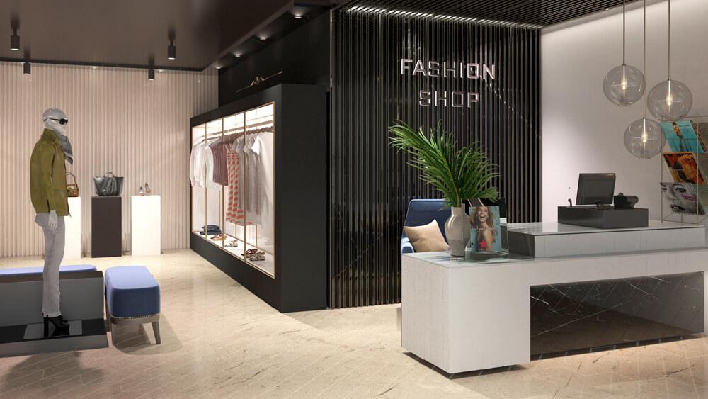 3D Rendering eines Fashion-Shops von Wincasa
