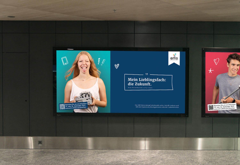 Neues Plakat mit neuem Claim: Die EMS Schiers bringt Technikbegeisterte weiter. Wir durften die Plakatwerbung für den Infotag umsetzen.